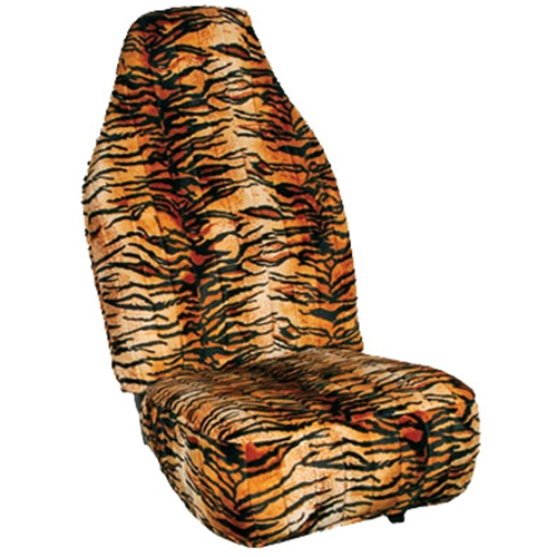 Tiger Print Velour Seat Cover
